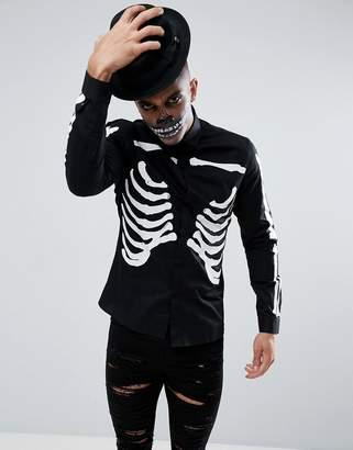 Asos Design DESIGN halloween stretch slim with rib cage print