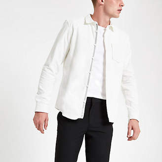 River Island White cord long sleeve shirt