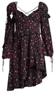 For Love & Lemons Rosie Ruffled Floral Mini Dress