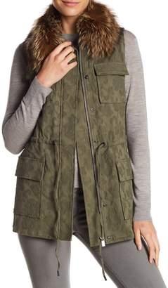 Haute Hippie Genuine Fox Fur Collar Cargo Vest