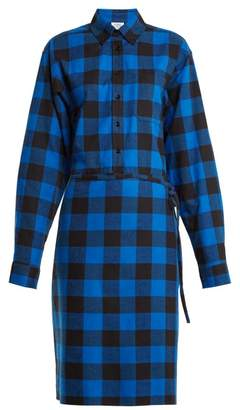 Vetements Tie Waist Checked Cotton Flannel Shirtdress - Womens - Black Blue
