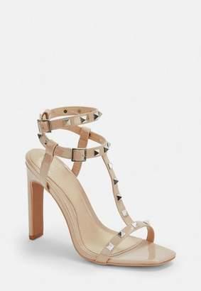 Missguided Nude Bar Studded Heel Sandals