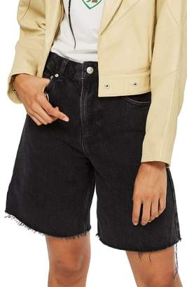 Topshop MOTO Longline Straight Nonstretch Jean Shorts