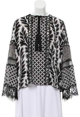 Andrew Gn Printed Long Sleeve Blouse