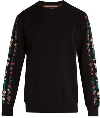 Paul Smith - Floral Embroidered Cotton Jersey Sweatshirt - Mens - Black