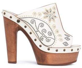 Roberto Cavalli Studded Leather Platform Mules