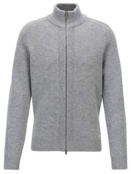 BOSS Hugo Stand-collar sweater in lambswool two-way zipper M Silver