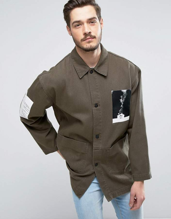 ASOS Denim Worker Jacket With Print Detail In Khaki 2