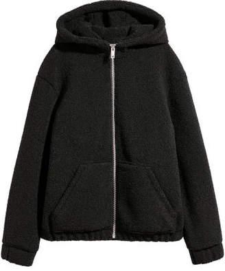 H&M Pile Hooded Jacket - Black