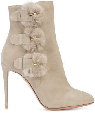 Aquazzura buckled fur detail ankle boots