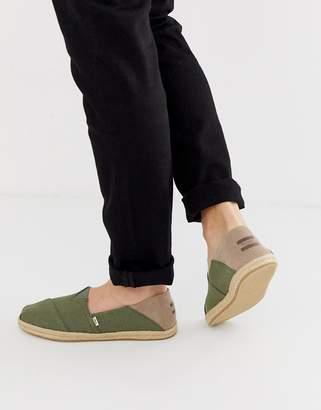 Toms Stamp Down espadrilles in khaki canvas