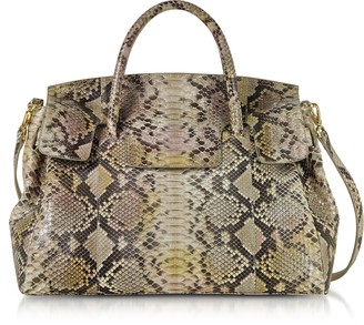 Ghibli Python Leather Large Satchel Bag