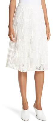 Clu Metallic Floral Lace Pleated Skirt
