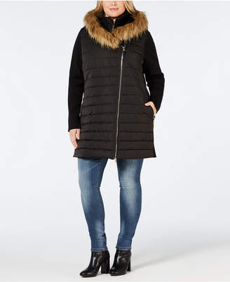 685a2b7eb7ef1 ... Calvin Klein Plus Size Faux-Fur Trimmed Hooded Walker Jacket