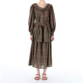 エリン タータンチェックオープンネックドレス