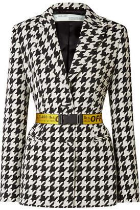Off-White Canvas Jacquard-trimmed Houndstooth Wool-blend Blazer - Black