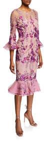 Floral Embroidered Trumpet-Sleeve Dress w/ Flounce Hem
