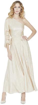 Alice + Olivia Jeanie One Shoulder Tack Sleeve Dress
