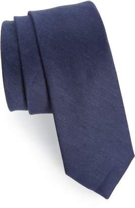 The Tie Bar Herringbone Linen & Silk Skinny Tie