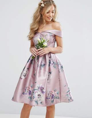 Chi Chi London Off Shoulder Satin Midi Dress In Floral Print $94 thestylecure.com