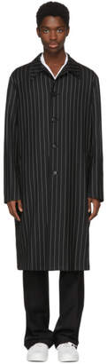 Versace Black and White Pinstripe Coat