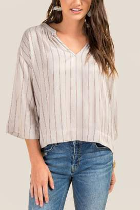 francesca's Ashlin 3/4 Sleeve Striped Blouse - Gray