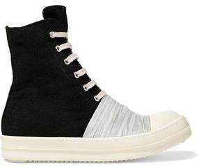 Rick Owens Shell-Paneled Canvas High-Top Sneakers