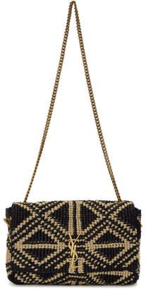 Saint Laurent Reversible Black Medium Straw Kate Chain Bag