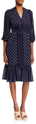 Eliza J Long-Sleeve Polka Dot Chiffon Dress