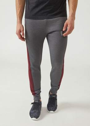 Emporio Armani Cotton Joggers With Side Strips And Ea7 Logo