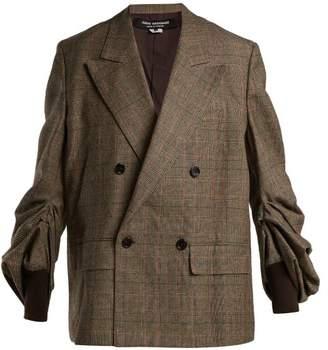 Junya Watanabe Gathered Sleeve Wool Blend Blazer - Womens - Grey