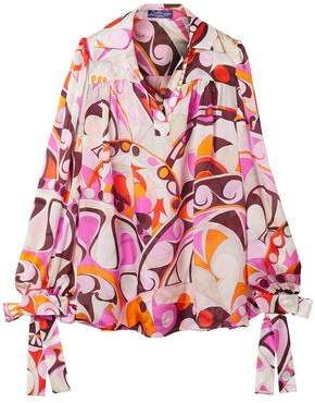 Emilio Pucci Bow-Detailed Printed Silk-Georgette Blouse