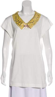 Dolce & Gabbana Jacquard-Accented Jersey Top w/ Tags