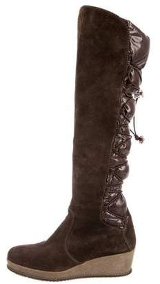 Moncler Platform Knee-High Wedge Boots