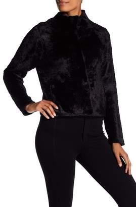 Eileen Fisher Mock Neck Faux Fur Jacket