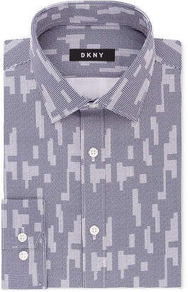 DKNY Men's Slim-Fit Navy White Print Dress Shirt