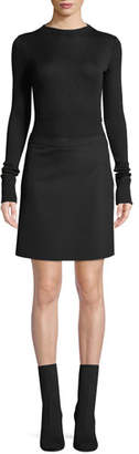 Theory Ribbed Combo Mock-Neck Sweater Dress