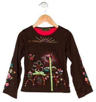 Oilily Girls' Embroidered Long Sleeve Top