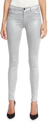 J Brand 620 Mid-Rise Super Skinny Metallic Jeans $248 thestylecure.com
