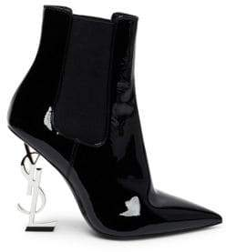 Saint Laurent Opyum Heel Patent Leather Point Toe Chelsea Booties