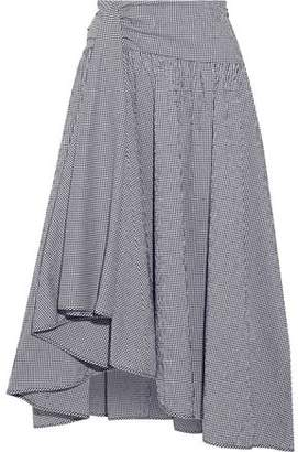 Rosie Assoulin Asymmetric Draped Gingham Seersucker Midi Skirt