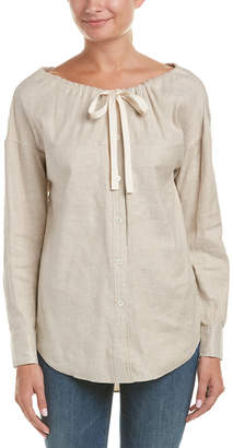 Theory Magena.Tierra Wash Linen-Blend Top