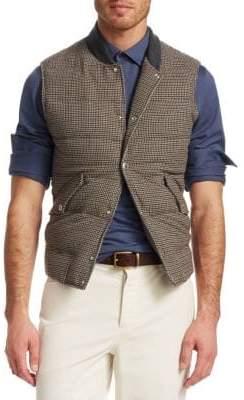 Brunello Cucinelli Houndstooth Wool& Cashmere Puffer Vest