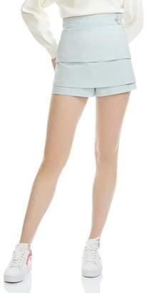 Maje Isalia Tiered Mini Shorts
