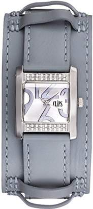 Clips Women's Quartz Watch with Silver Dial and Grey Leather Strap 553-1007-89