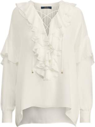 4c0f3caf5e70ab at Ralph Lauren · Ralph Lauren Ruffled Georgette Shirt