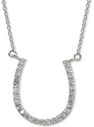 """Giani Bernini Cubic Zirconia Horseshoe Pendant Necklace in Sterling Silver, 16"""" + 2"""" extender, Created for Macy's"""