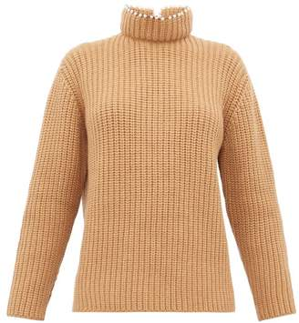 Loewe Faux Pearl Embellished High Neck Cashmere Sweater - Womens - Beige