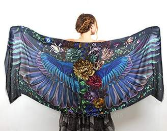 Shovava Dark wings Designer Shawl, Scarf, Hand Painted Wrap, Oversized Scarf Gift