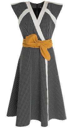 HATHAIRAT - Gingham Broad Shoulder Midi Dress